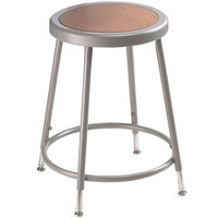 National Public Seating 6218H 19 inch - 27 inch Gray Adjustable Hardboard Round Lab Stool