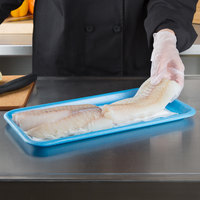 CKF 88048 (#25S) Blue Foam Meat Tray 15 inch x 8 inch x 5/8 inch - 125/Pack