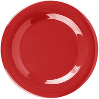 "Carlisle 3301005 Sierrus 10 1/2"" Red Wide Rim Melamine Plate - 12/Case"