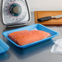 CKF 88051 (#4PR) Blue Foam Meat Tray 9 1/4 inch x 7 1/4 inch x 1 1/4 inch - 125/Pack