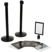 Lancaster Table & Seating Black 36 inch Crowd Control / Guidance Stanchion Kit including Frame & Sign Set with Clear Covers