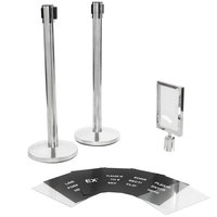 Lancaster Table & Seating Stainless Steel Silver 36 inch Crowd Control / Guidance Stanchion Kit including Frame & Sign Set with Clear Covers