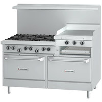 Garland G60-6R24RR Liquid Propane 6 Burner 60 inch Range with 24 inch Raised Griddle / Broiler and 2 Standard Ovens - 307,000 BTU