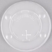 Solo L10BLN-0100 10 oz. Translucent Flat Plastic Lid with Straw Slot and Identification Buttons - 2000/Case