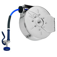 T&S B-7122-C10 30' Enclosed Stainless Steel Hose Reel with EB-2322 Extended Spray Wand