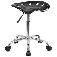 Flash Furniture LF-214A-BLACK-GG Black Office Stool with Tractor Seat and Chrome Frame