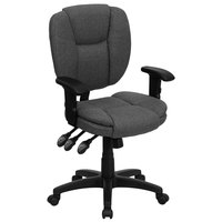 Flash Furniture GO-930F-GY-ARMS-GG Mid-Back Gray Multi-Functional Ergonomic Office Chair / Task Chair with Adjustable Arms