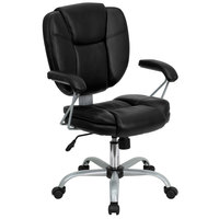 Flash Furniture GO-930-BK-GG Mid-Back Black Leather Computer / Task Chair with Heavy-Duty Powder Coated Frame