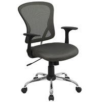 Flash Furniture H-8369F-DK-GY-GG Mid-Back Dark Gray Mesh Office Chair with Arms, Padded Seat, and Chrome Base