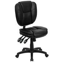 Flash Furniture GO-930F-BK-LEA-GG Mid-Back Black Multi-Functional Ergonomic Leather Office Chair / Task Chair