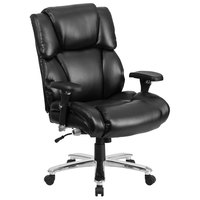 High-Back Black Leather Intensive-Use Multi-Shift Swivel Office Chair with Lumbar Support Knob, Headrest, and Padded Arms