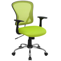 Flash Furniture H-8369F-GN-GG Mid-Back Green Mesh Office Chair with Arms, Padded Seat, and Chrome Base