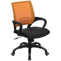 Flash Furniture CP-B176A01-ORANGE-GG Mid-Back Computer / Office Chair with Orange Mesh Back and Black Leather Seat