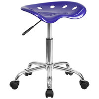 Flash Furniture LF-214A-DEEPBLUE-GG Deep Blue Office Stool with Tractor Seat and Chrome Frame