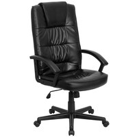 Flash Furniture GO-7102-GG High-Back Black Leather Executive Office Chair with Nylon Base and Padded Arms