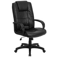 Flash Furniture GO-5301B-BK-LEA-GG High-Back Black Leather Executive Office Chair with Nylon Base, Padded Back, and Padded Arms