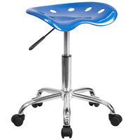 Flash Furniture LF-214A-BRIGHTBLUE-GG Bright Blue Office Stool with Tractor Seat and Chrome Frame