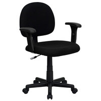 Flash Furniture BT-660-1-BK-GG Mid-Back Black Ergonomic Office Chair / Task Chair with Adjustable Arms