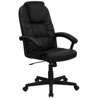Flash Furniture BT-983-BK-GG High-Back Black Leather Executive Swivel Office Chair with Leather Padded Nylon Arms