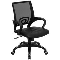 Flash Furniture CP-B176A01-BLACK-GG Mid-Back Computer / Office Chair with Black Mesh Back and Black Leather Seat
