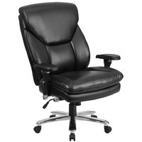 Flash Furniture GO-2085-LEA-GG High-Back Black Leather Intensive-Use Multi-Shift Swivel Office Chair with Lumbar Support Knob and Padded Arms