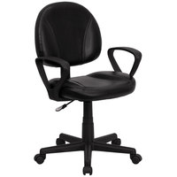 Flash Furniture BT-688-BK-A-GG Mid-Back Black Leather Ergonomic Office Chair / Task Chair with Arms