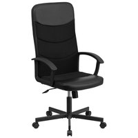 Flash Furniture CP-A301A01-BK-GG High-Back Black Vinyl Racing Executive Swivel Office Chair with Nylon Arms