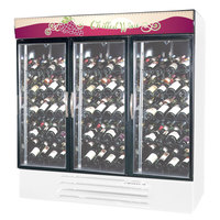 Beverage-Air MMRR72-1-W-LED 75 inch White Three Section Dual Temperature Glass Door Wine Merchandiser - 72 Cu. Ft.