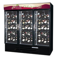 Beverage-Air MMRR72-1-B-LED MarketMax 75 inch Black Three Section Dual Temperature Glass Door Wine Merchandiser - 72 Cu. Ft.