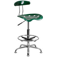 Flash Furniture LF-215-GREEN-GG Green Drafting Stool with Tractor Seat and Chrome Frame