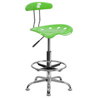 Flash Furniture LF-215-APPLEGREEN-GG Apple Green Drafting Stool with Tractor Seat and Chrome Frame