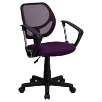 Flash Furniture WA-3074-PUR-A-GG Mid-Back Purple Mesh Office / Task Chair with Nylon Base and Polyurethane Arms