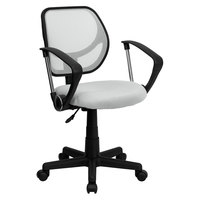 Flash Furniture WA-3074-WHT-A-GG Mid-Back White Mesh Office / Task Chair with Nylon Frame, Swivel Base, and Polyurethane Arms