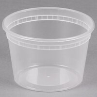 16 oz. Microwavable Translucent Plastic Deli Container - 48/Pack