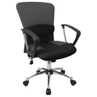 Flash Furniture LF-W23-GREY-GG Mid-Back Gray Mesh Office Chair with Padded Seat, Chrome Swivel Base, and Polyurethane Arms