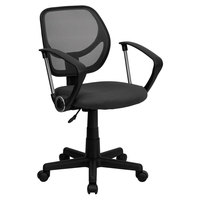 Flash Furniture WA-3074-GY-A-GG Mid-Back Gray Mesh Office / Task Chair with Nylon Frame, Swivel Base, and Polyurethane Arms