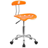 Flash Furniture LF-214-ORANGEYELLOW-GG Orange Office / Task Chair with Tractor Seat and Chrome Frame