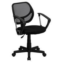 Flash Furniture WA-3074-BK-A-GG Mid-Back Black Mesh Office / Task Chair with Nylon Frame, Swivel Base, and Polyurethane Arms