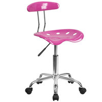 Flash Furniture LF-214-CANDYHEART-GG Candyheart Pink Office / Task Chair with Tractor Seat and Chrome Frame