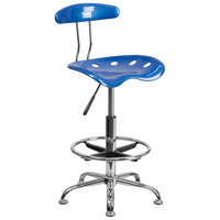 Flash Furniture LF-215-BRIGHTBLUE-GG Bright Blue Drafting Stool with Tractor Seat and Chrome Frame