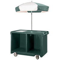 Cambro CVC55519 Camcruiser Green Customizable Vending Cart with Umbrella, 1 Counter Well, and 2 Storage Compartments
