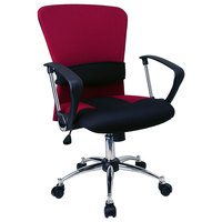 Flash Furniture LF-W23-RED-GG Mid-Back Burgundy Mesh Office Chair with Padded Seat, Chrome Swivel Base, and Polyurethane Arms
