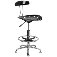 Flash Furniture LF-215-BLK-GG Black Drafting Stool with Tractor Seat and Chrome Frame