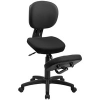 Flash Furniture WL-1430-GG Black Ergonomic Mobile Kneeling Office Chair with Nylon Frame, Swivel Base, and Back Rest