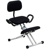Flash Furniture WL-3439-GG Black Ergonomic Kneeling Office Chair with Silver Steel Frame, Handles, and Back Rest