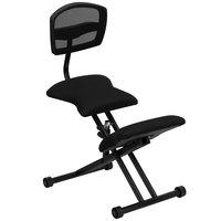 Flash Furniture WL-3440-GG Black Ergonomic Kneeling Office Chair with Black Steel Frame and Flat Mesh Back Rest
