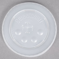 Dart Solo L16BL-0100 12-24 oz. Translucent Flat Plastic Lid with Straw Slot and Identification Buttons   - 125/Pack