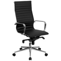 High-Back Black Ribbed Leather Executive Swivel Office Chair with Aluminum Arms and Coat Rack