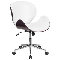 Flash Furniture SD-SDM-2240-5-MAH-WH-GG Mid-Back White Leather Mahogany Wood Conference Swivel Chair