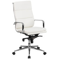 Flash Furniture BT-9895H-6-WH-GG High-Back White Leather Executive Swivel Office Chair with Chrome Arms and Coat Rack